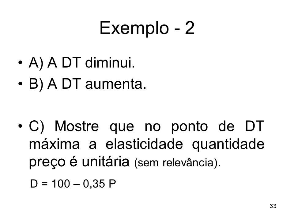 33 Exemplo - 2 A) A DT diminui. B) A DT aumenta. C) Mostre que no ponto de DT máxima a elasticidade quantidade preço é unitária (sem relevância). D =