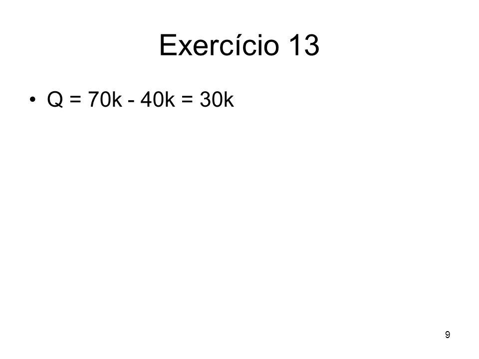 9 Exercício 13 Q = 70k - 40k = 30k