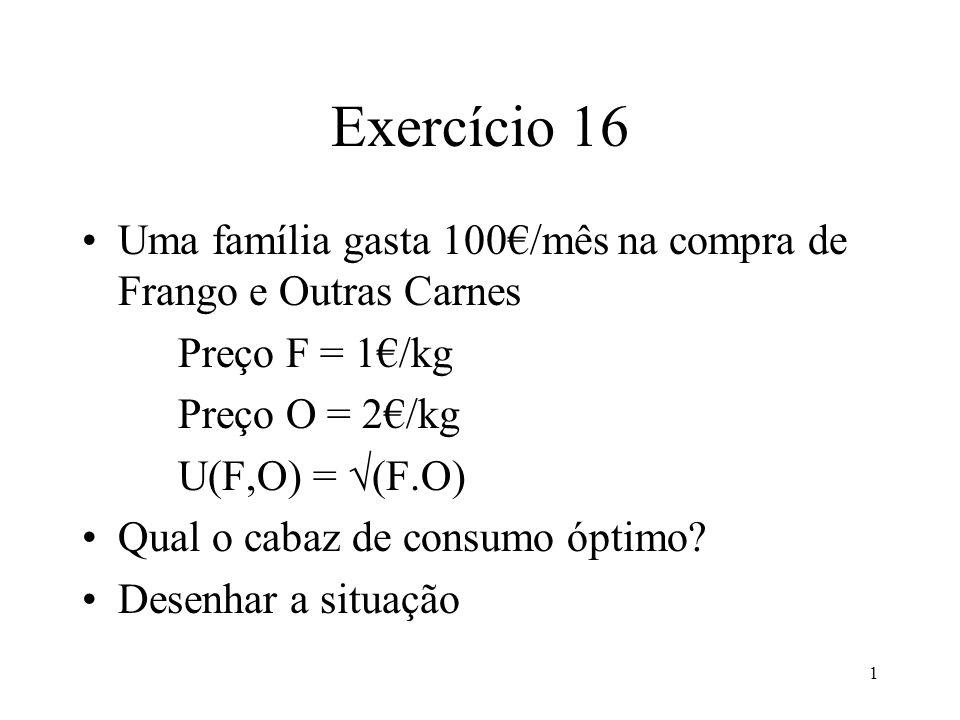 1 Exercício 16 Uma família gasta 100/mês na compra de Frango e Outras Carnes Preço F = 1/kg Preço O = 2/kg U(F,O) = (F.O) Qual o cabaz de consumo óptimo.