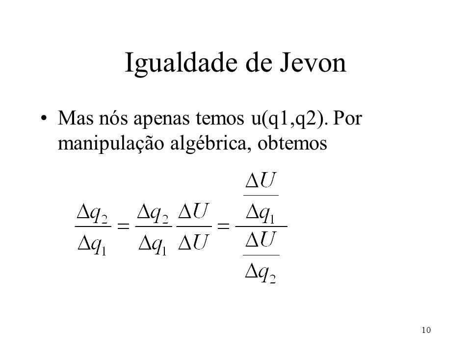 10 Igualdade de Jevon Mas nós apenas temos u(q1,q2). Por manipulação algébrica, obtemos