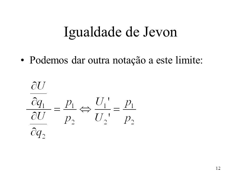 12 Igualdade de Jevon Podemos dar outra notação a este limite: