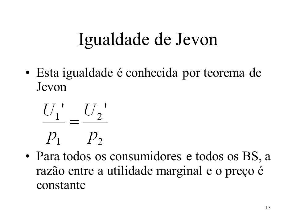 13 Igualdade de Jevon Esta igualdade é conhecida por teorema de Jevon Para todos os consumidores e todos os BS, a razão entre a utilidade marginal e o