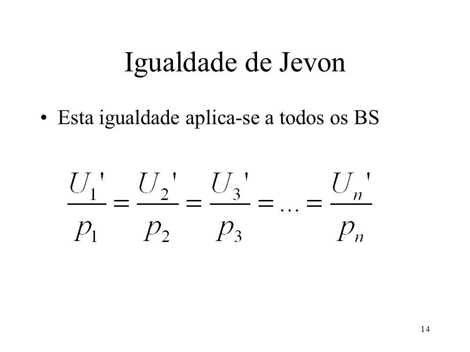 14 Igualdade de Jevon Esta igualdade aplica-se a todos os BS