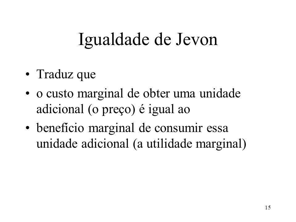 15 Igualdade de Jevon Traduz que o custo marginal de obter uma unidade adicional (o preço) é igual ao benefício marginal de consumir essa unidade adic