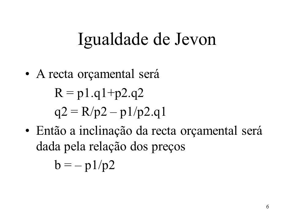 6 Igualdade de Jevon A recta orçamental será R = p1.q1+p2.q2 q2 = R/p2 – p1/p2.q1 Então a inclinação da recta orçamental será dada pela relação dos pr
