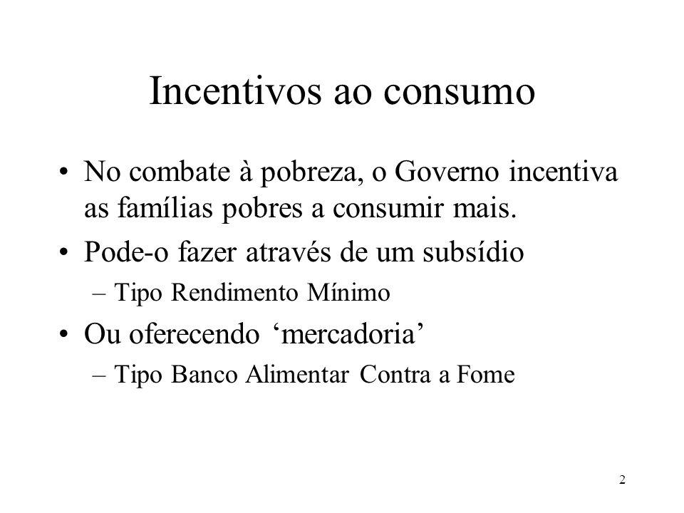 2 Incentivos ao consumo No combate à pobreza, o Governo incentiva as famílias pobres a consumir mais.