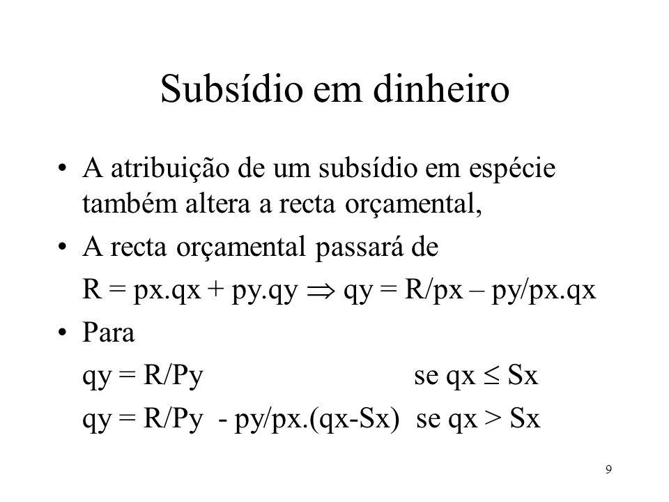 9 Subsídio em dinheiro A atribuição de um subsídio em espécie também altera a recta orçamental, A recta orçamental passará de R = px.qx + py.qy qy = R/px – py/px.qx Para qy = R/Py se qx Sx qy = R/Py - py/px.(qx-Sx) se qx > Sx