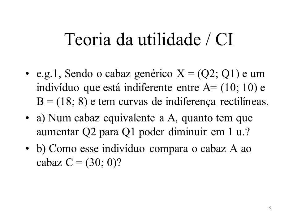 5 Teoria da utilidade / CI e.g.1, Sendo o cabaz genérico X = (Q2; Q1) e um indivíduo que está indiferente entre A= (10; 10) e B = (18; 8) e tem curvas