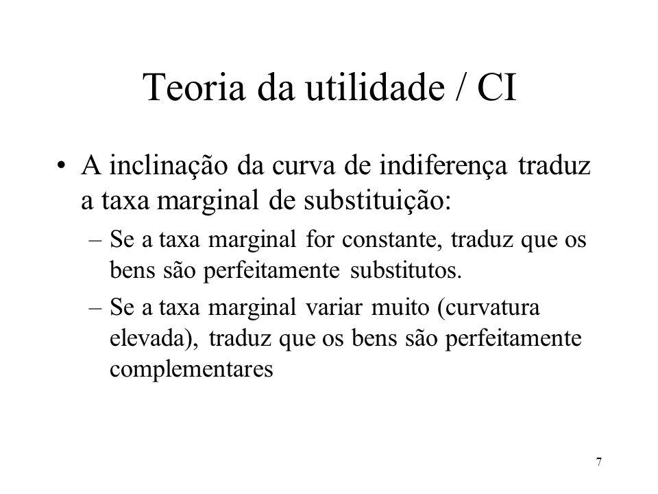 7 Teoria da utilidade / CI A inclinação da curva de indiferença traduz a taxa marginal de substituição: –Se a taxa marginal for constante, traduz que