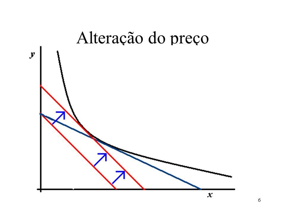 7 Então, O aumento do preço induz alterações porque Se alteram os preços relativos (inclinação) Porque se altera o rendimento real (diminui)