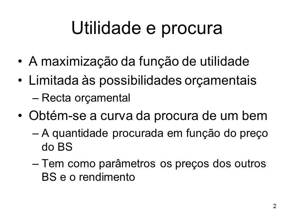 2 Utilidade e procura A maximização da função de utilidade Limitada às possibilidades orçamentais –Recta orçamental Obtém-se a curva da procura de um