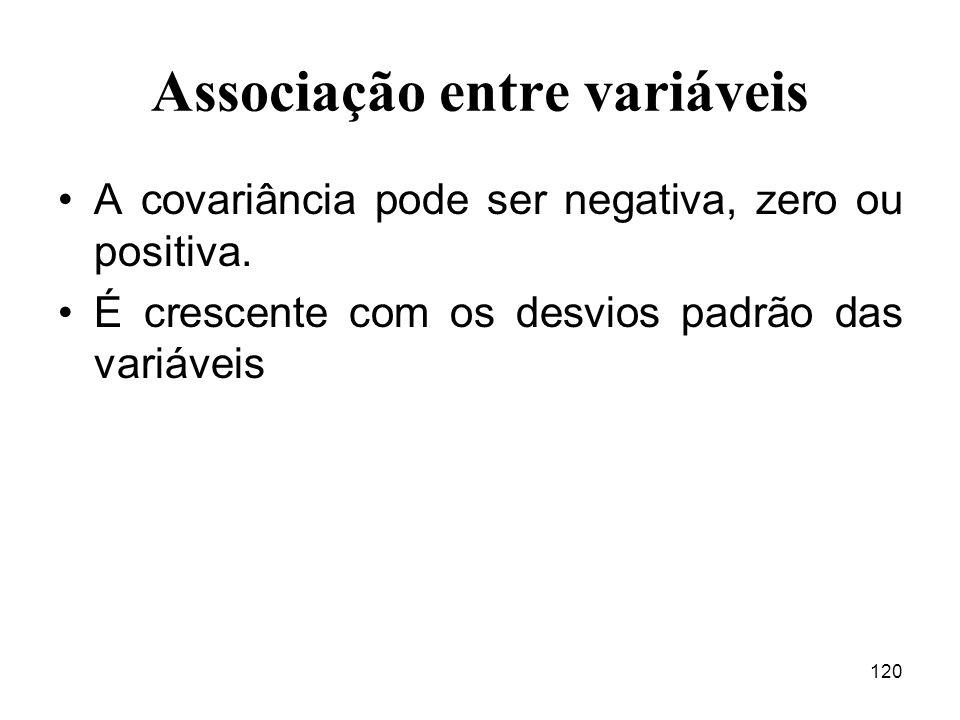 120 Associação entre variáveis A covariância pode ser negativa, zero ou positiva. É crescente com os desvios padrão das variáveis