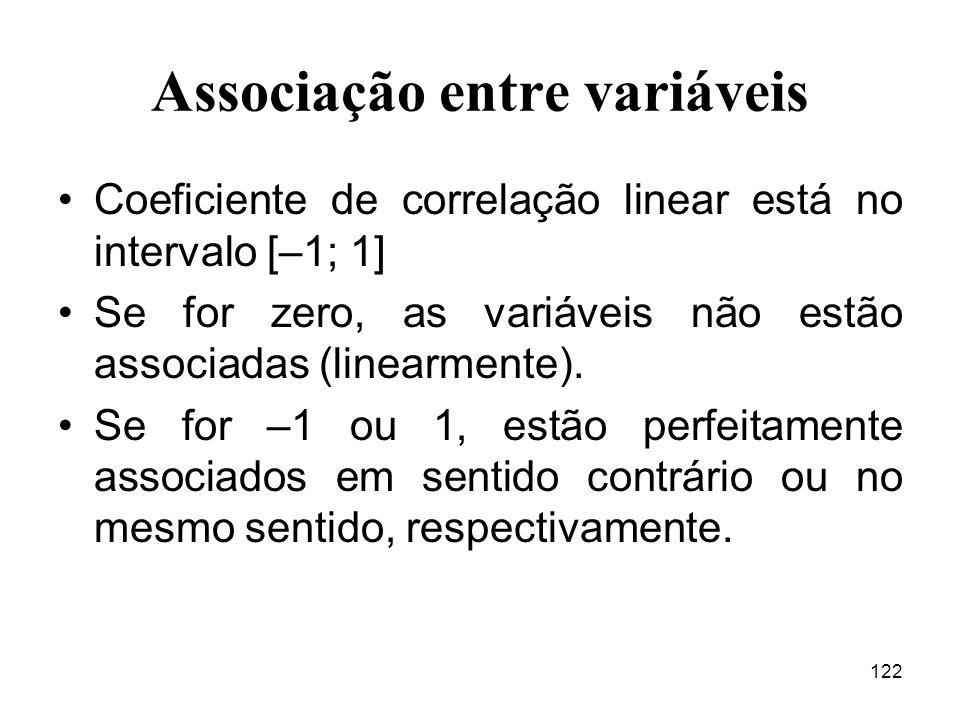 122 Associação entre variáveis Coeficiente de correlação linear está no intervalo [–1; 1] Se for zero, as variáveis não estão associadas (linearmente)