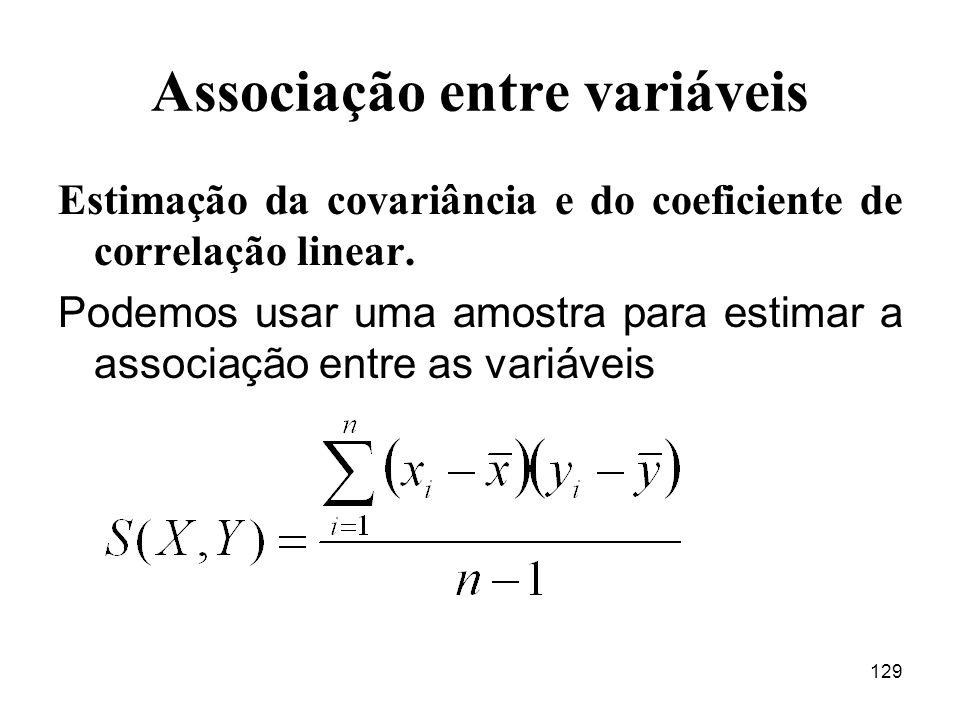 129 Associação entre variáveis Estimação da covariância e do coeficiente de correlação linear. Podemos usar uma amostra para estimar a associação entr