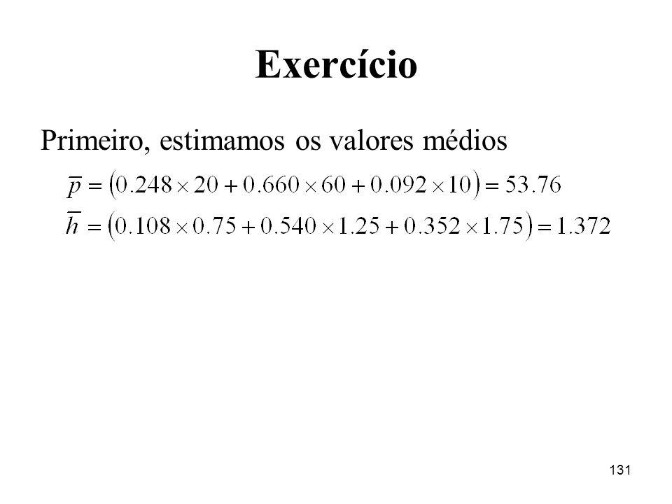 131 Exercício Primeiro, estimamos os valores médios