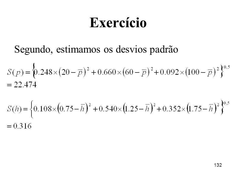 132 Exercício Segundo, estimamos os desvios padrão