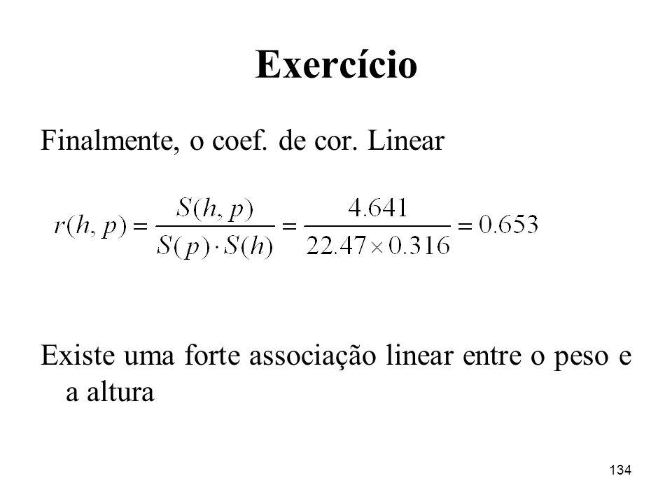 134 Exercício Finalmente, o coef. de cor. Linear Existe uma forte associação linear entre o peso e a altura