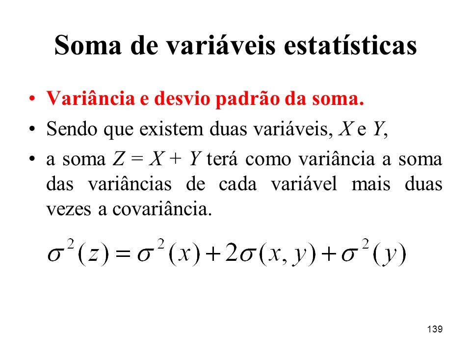 139 Soma de variáveis estatísticas Variância e desvio padrão da soma. Sendo que existem duas variáveis, X e Y, a soma Z = X + Y terá como variância a
