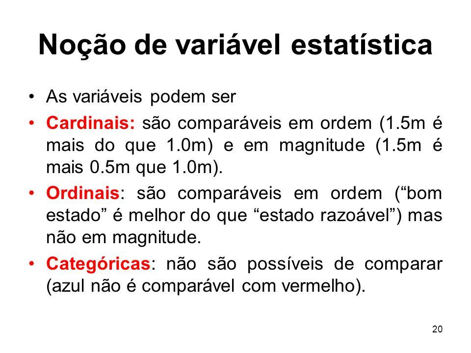 20 Noção de variável estatística As variáveis podem ser Cardinais: são comparáveis em ordem (1.5m é mais do que 1.0m) e em magnitude (1.5m é mais 0.5m