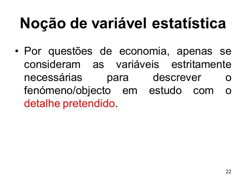 22 Noção de variável estatística Por questões de economia, apenas se consideram as variáveis estritamente necessárias para descrever o fenómeno/object