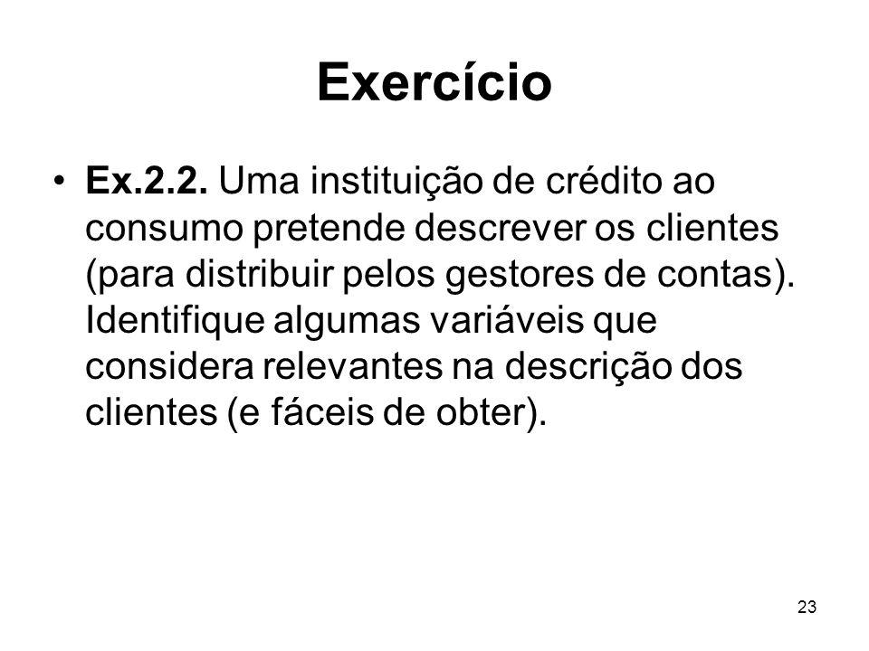 23 Exercício Ex.2.2. Uma instituição de crédito ao consumo pretende descrever os clientes (para distribuir pelos gestores de contas). Identifique algu