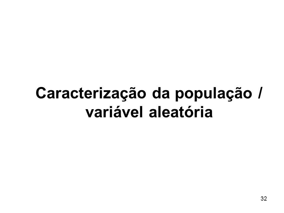 32 Caracterização da população / variável aleatória