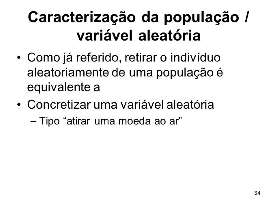 34 Caracterização da população / variável aleatória Como já referido, retirar o indivíduo aleatoriamente de uma população é equivalente a Concretizar