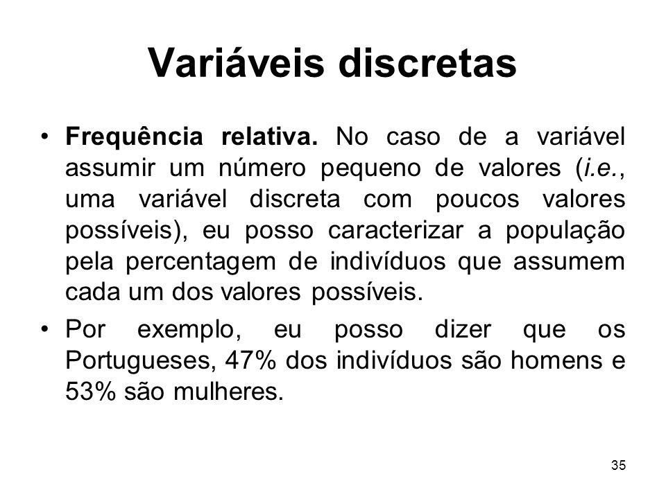35 Variáveis discretas Frequência relativa. No caso de a variável assumir um número pequeno de valores (i.e., uma variável discreta com poucos valores