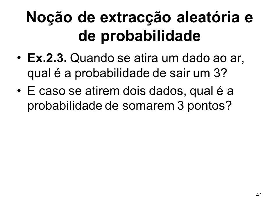 41 Noção de extracção aleatória e de probabilidade Ex.2.3. Quando se atira um dado ao ar, qual é a probabilidade de sair um 3? E caso se atirem dois d