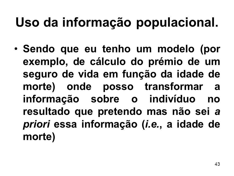 43 Uso da informação populacional. Sendo que eu tenho um modelo (por exemplo, de cálculo do prémio de um seguro de vida em função da idade de morte) o