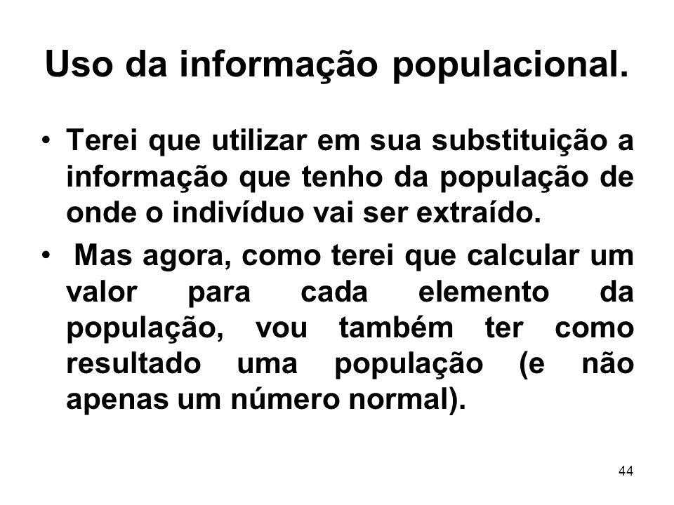 44 Uso da informação populacional. Terei que utilizar em sua substituição a informação que tenho da população de onde o indivíduo vai ser extraído. Ma