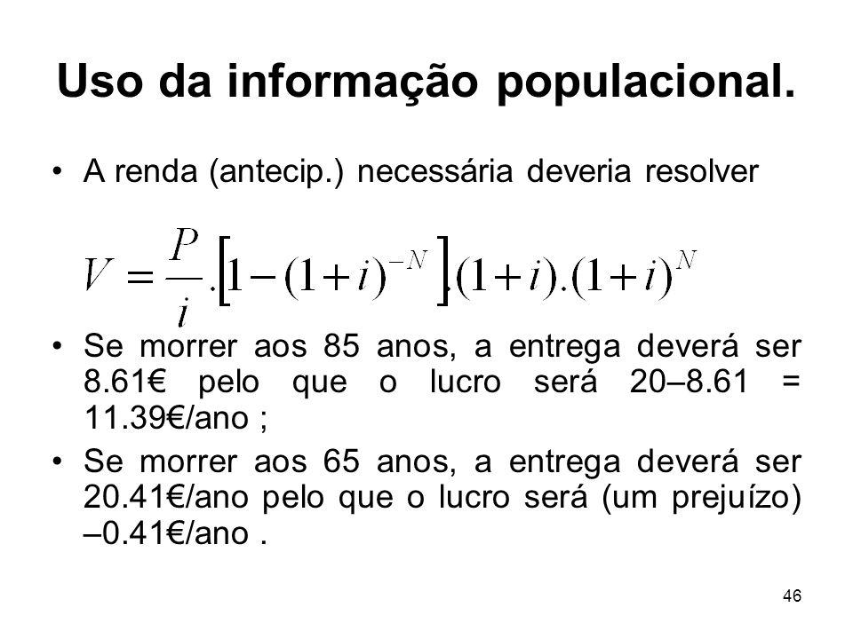 46 Uso da informação populacional. A renda (antecip.) necessária deveria resolver Se morrer aos 85 anos, a entrega deverá ser 8.61 pelo que o lucro se