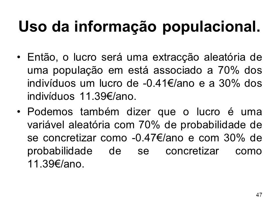 47 Uso da informação populacional. Então, o lucro será uma extracção aleatória de uma população em está associado a 70% dos indivíduos um lucro de -0.