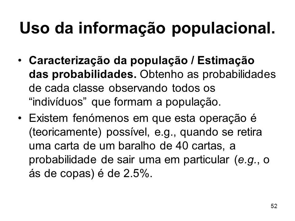 52 Uso da informação populacional. Caracterização da população / Estimação das probabilidades. Obtenho as probabilidades de cada classe observando tod