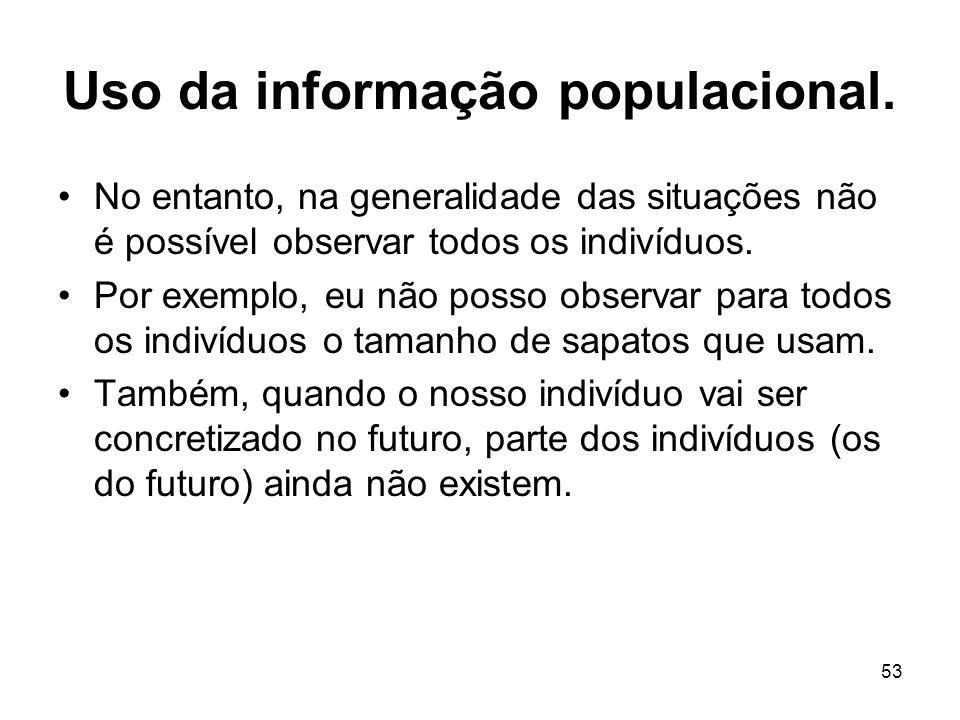 53 Uso da informação populacional. No entanto, na generalidade das situações não é possível observar todos os indivíduos. Por exemplo, eu não posso ob