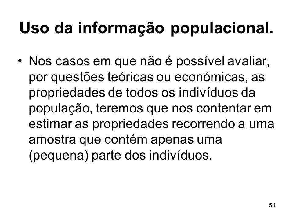 54 Uso da informação populacional. Nos casos em que não é possível avaliar, por questões teóricas ou económicas, as propriedades de todos os indivíduo