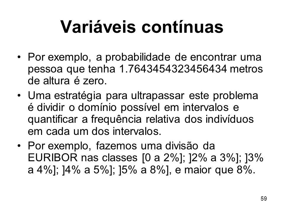 59 Variáveis contínuas Por exemplo, a probabilidade de encontrar uma pessoa que tenha 1.7643454323456434 metros de altura é zero. Uma estratégia para