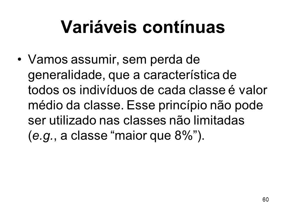 60 Variáveis contínuas Vamos assumir, sem perda de generalidade, que a característica de todos os indivíduos de cada classe é valor médio da classe. E