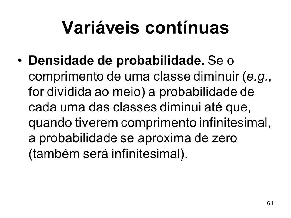 61 Variáveis contínuas Densidade de probabilidade. Se o comprimento de uma classe diminuir (e.g., for dividida ao meio) a probabilidade de cada uma da