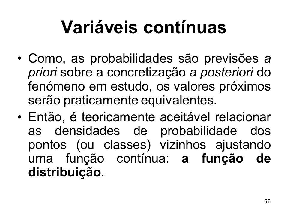 66 Variáveis contínuas Como, as probabilidades são previsões a priori sobre a concretização a posteriori do fenómeno em estudo, os valores próximos se