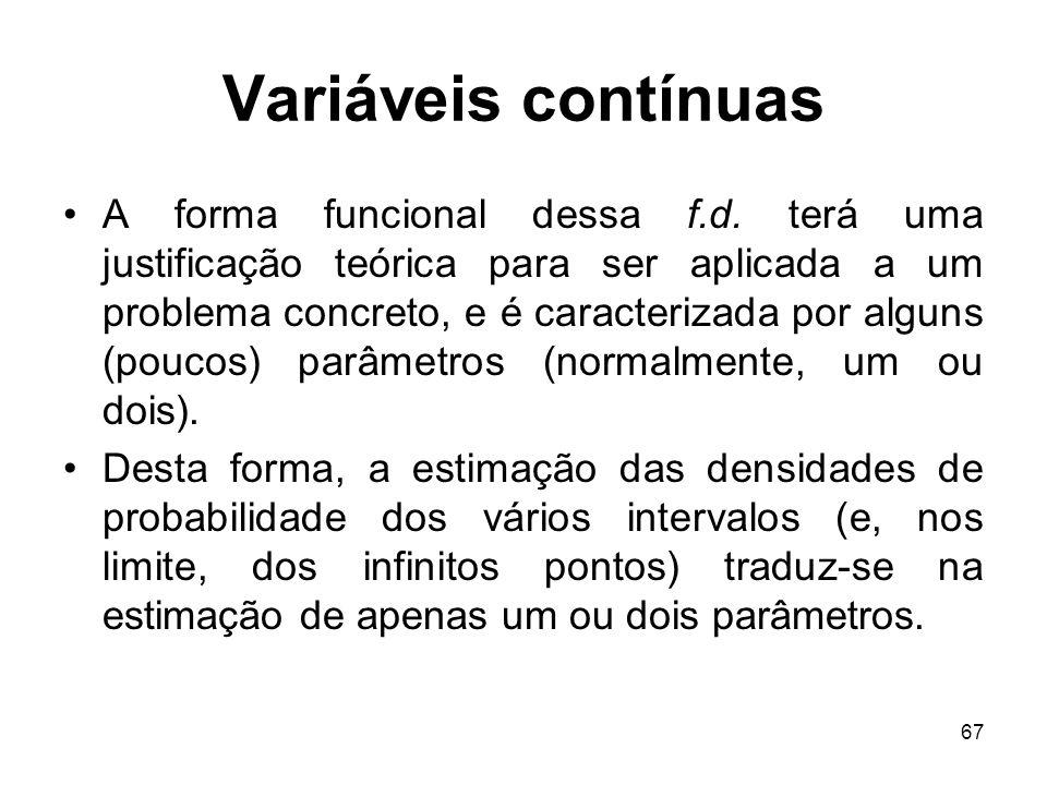 67 Variáveis contínuas A forma funcional dessa f.d. terá uma justificação teórica para ser aplicada a um problema concreto, e é caracterizada por algu