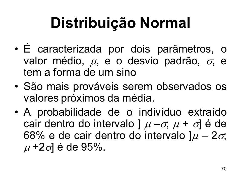 70 Distribuição Normal É caracterizada por dois parâmetros, o valor médio,, e o desvio padrão,, e tem a forma de um sino São mais prováveis serem obse