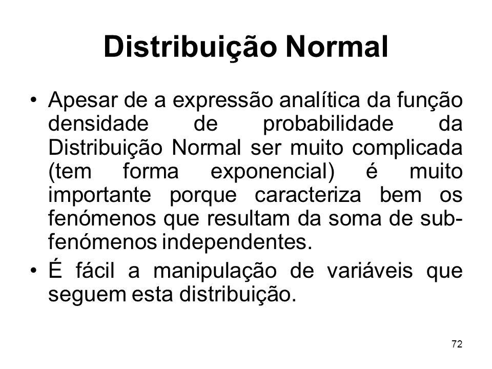 72 Distribuição Normal Apesar de a expressão analítica da função densidade de probabilidade da Distribuição Normal ser muito complicada (tem forma exp