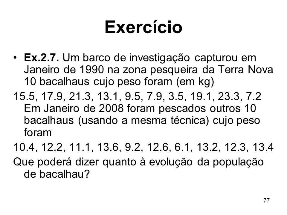 77 Exercício Ex.2.7. Um barco de investigação capturou em Janeiro de 1990 na zona pesqueira da Terra Nova 10 bacalhaus cujo peso foram (em kg) 15.5, 1