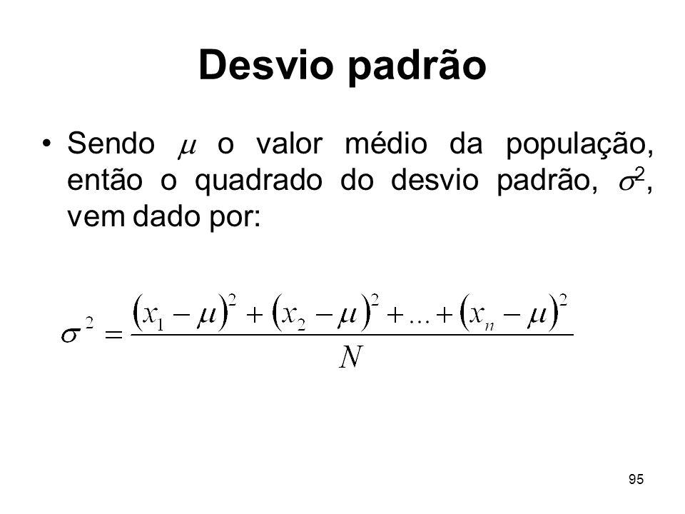 95 Desvio padrão Sendo o valor médio da população, então o quadrado do desvio padrão, 2, vem dado por: