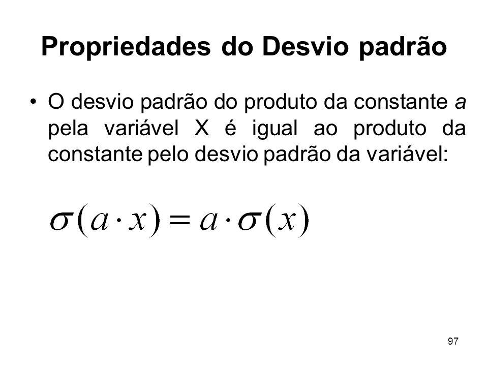 97 Propriedades do Desvio padrão O desvio padrão do produto da constante a pela variável X é igual ao produto da constante pelo desvio padrão da variá