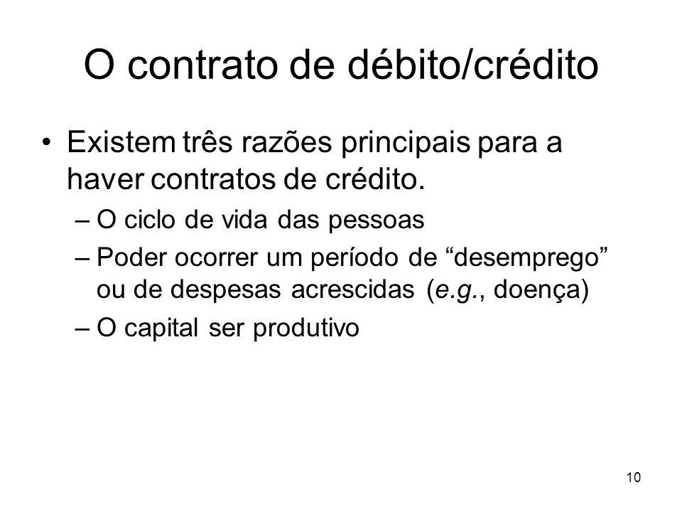 10 O contrato de débito/crédito Existem três razões principais para a haver contratos de crédito. –O ciclo de vida das pessoas –Poder ocorrer um perío