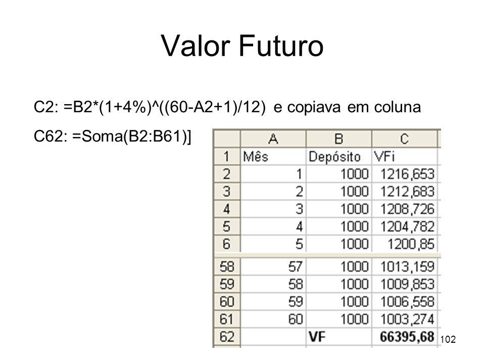 102 Valor Futuro C2: =B2*(1+4%)^((60-A2+1)/12) e copiava em coluna C62: =Soma(B2:B61)]