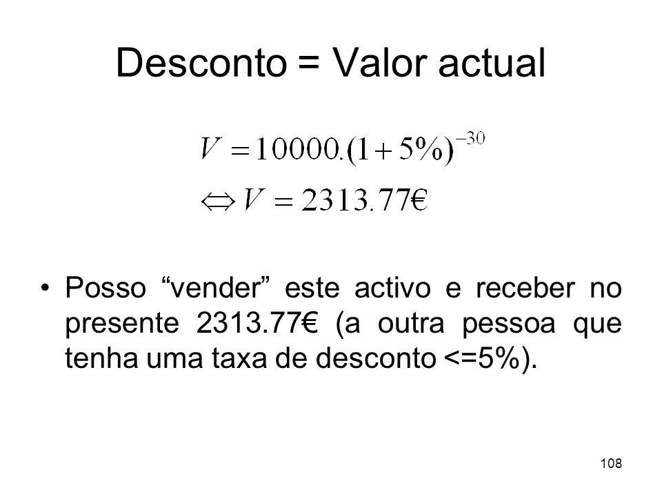 108 Desconto = Valor actual Posso vender este activo e receber no presente 2313.77 (a outra pessoa que tenha uma taxa de desconto <=5%).
