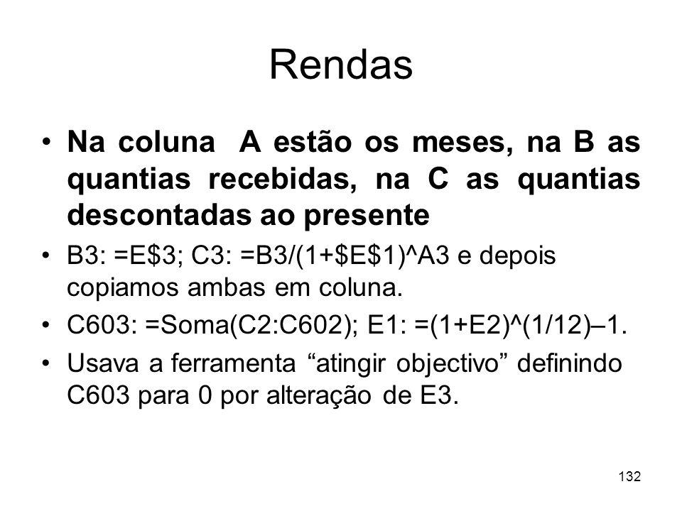 132 Rendas Na coluna A estão os meses, na B as quantias recebidas, na C as quantias descontadas ao presente B3: =E$3; C3: =B3/(1+$E$1)^A3 e depois cop